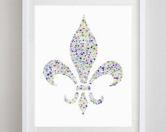 Mardi Gras Fleur De Lis Floral Watercolor Art Print