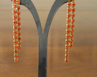 Orange Rhinestone Dangling Earrings, Vintage Orange Rhinestone Earrings, Orange Rhinestone Dangling Post Earrings