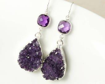 50% OFF SALE - Silver Purple Amethyst Druzy Teardrop Earrings - Amethyst Quartz - February Birthstone