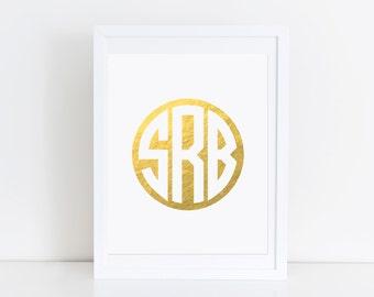 Gold Foil Monogram Print Nursery Artwork Girls Bedroom Wall Art Personalized Real Gold Foil Print Gold Office Supplies Custom Letter Print