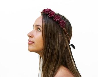 Burgundy Rose Flower Crown, Burgundy Rose Crown, Rose Crown, Floral Crown, Dark Red Rose Crown, Red Rose Crown, Rose Headband, Red, Boho