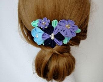 Tsumami Hair Comb, Kanzashi Flower, Kimono, Wedding Hair Ornament, Blue Purple Flower, Winter, WAKUMI