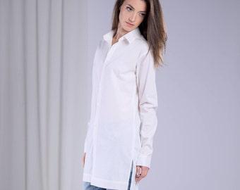 White Shirt, Modern Shirt, Long Shirt, Maxi Shirt, Womens White Top, Long Sleeved Top, Designer Clothing, Gift For Her, Girlfriend Gift