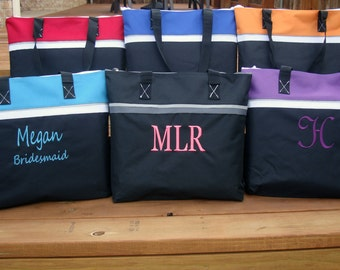 4 Bridesmaids Gift Bags, Bridesmaid Gift Tote Bag, Nylon Bridesmaid Gift Tote Bag, Personalized Bag, Monogrammed Bridesmaid Gift Bag