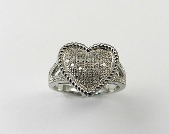 Natural Diamond Heart Ring 925 Sterling Silver