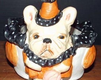 New Folk Art Vintage Style Halloween French Bulldog Dog Pumpkin Pottery Bowl