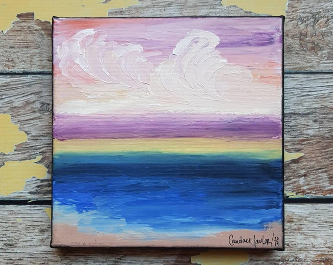"Seascape Canvas Art | Coastal Painting | Ocean Art | Beach Decor | 6x6 | ""Amethyst Skies"" 