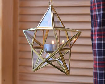 Hanging geometric candle holder Gold christmas lights Christmas glass decorations Christmas decor Glass candle holder Outdoor candle holders