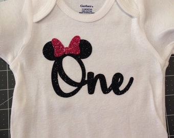 Minnie Mouse inspired onesie for 1st birthday!