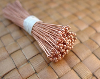 100 pcs 2 Inch Copper Ball Headpins (22 gauge, 1.5 mm ball)