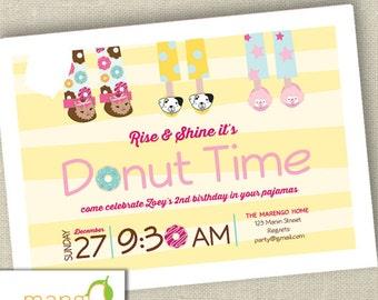 PJ Donut Birthday Invitation Printable