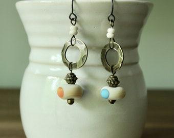 Boho style, fun, antique gold and polka dot earrings