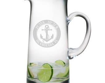 Custom Coordinates Anchor Tankard Pitcher, Latitude Longitude Glassware