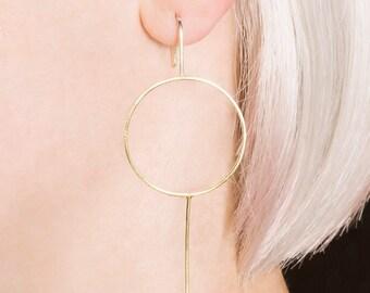 Gold Hoop Drop Earrings, Hoop Earrings, Gold Drop Earrings, Round Earrings, Geometric Gold Earrings, Modern Earrings, Simple Drop Earrings