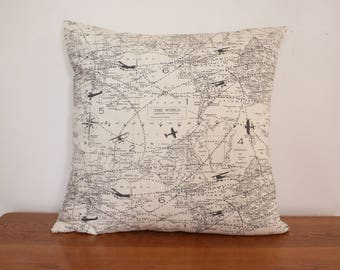 "Air Traffic Map Natural Decorative Throw Pillow Covers. 16"" x 16"" shams fit 18"" pillow."