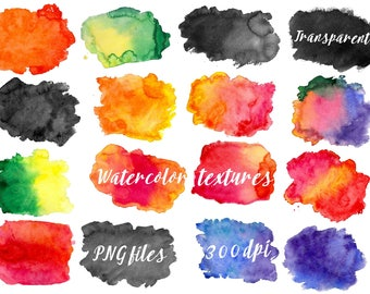 Watercolor Splotches, Colorful Watercolor Clipart, Hand Painted Blob, Watercolor Backgrounds, Water color, Watercolor Textures, Png Files