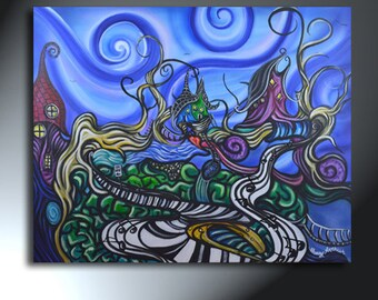 Imaginative Town Painting Music Note Artwork Original Artwork Size 24 X 30 Swirly Artwork