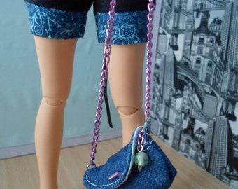 BJD MSD shoulder bag jeans with butterfly purple dolls 42cm Minifee DZ