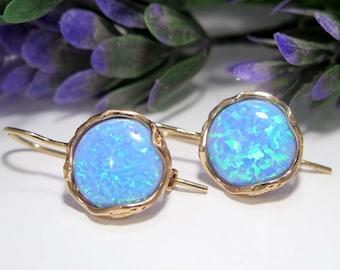 Blue Opal Earrings, 14K Opal Earrings, Vintage Earrings, Solid Gold Earrings, Blue Opal Jewelry, Gold Drop Earrings, October Earrings,