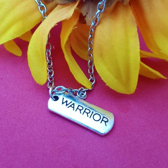 Warrior Charm Necklace, CrossFit Jewelry, Sports Jewelry, Team Mascot Coach Gift, CrossFit Charms, Warrior Word Charm, Inspirational Jewelry