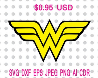 Wonder Woman Svg Dxf Eps Png Jpg Cdr Ai Cut Vector File Silhouette Cameo Cricut Design Vinyl Decal