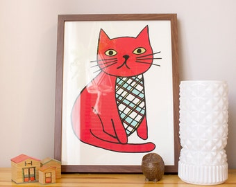 Plaid Cat Screen Print