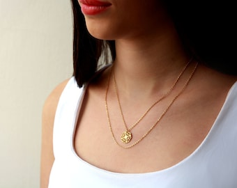 Double layer necklace / gold layered necklace / multi chain necklace / birthday gifts for her