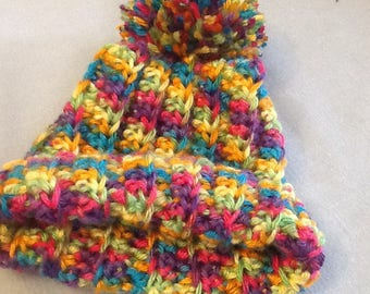 Crochet baby hat stretchy baby hat ,3-6 mo beanie ,multicolor baby girl hats infant hays, baby girl hats