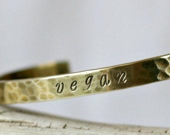 Custom Inscription Hammered Brass Bracelet