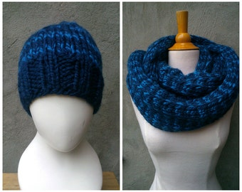 Blue men's wool set, hat and cowl set, men's cowl and hat set, wool cowl and hat set, men's hat, mens's cowl, blue wool cowl, blue knit cowl