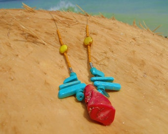 Coral and Turquoise Beaded Necklace w/ Czech Glass