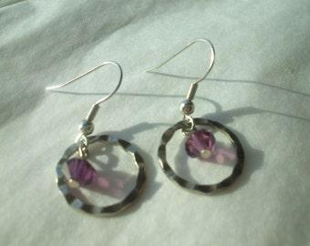 Purple Crystal Earrings Textured Silver tone Ringlets