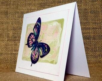 handmade butterfly card, butterfly birthday card, butterfly blank card, btterfly thank you card