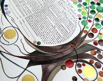 FOUR SEASONS KETUBAH Watercolor art Painting - Entangled Trees with Gold Leaf accents Orthodox Ketubah
