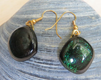 0345 - Sparkling Green Fused Glass Earrings