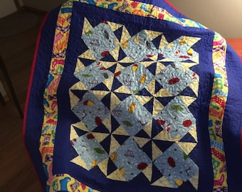 Bright rainy day pinwheel quilt