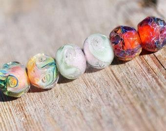 Lampwork BORO glass beads (6), borosilicate glass beads, handmade borosilicate glass beads, earrings pair, assortment mixed lot 6. boro SRA