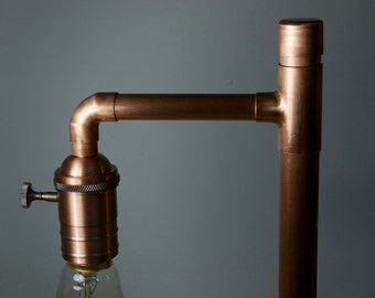 Copper Desk Lamp with Vintage Style Edison Bulb available in brushed or polished