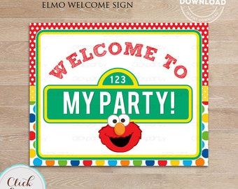 Elmo Welcome Sign, Birthday Sign, Birthday Party Sign, Door Sign Birthday party decorations INSTANT Download