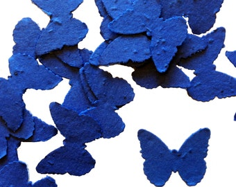 Royal Blue Butterfly Shaped Plantable Seed Paper Confetti, Wildflower Seed, Recycled Paper  - 100 Pack