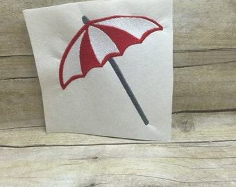 Umbrella Embroidery Design, Beach Umbrella Embroidery Design