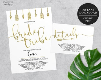 Printable Bride Tribe Invitation | Editable PDF | Bachelorette | Hens Party | Hens Weekend | Gold Foil | Arrows | Bride Tribe Invitation