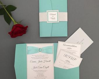 Turquoise wedding invitation - Robins egg wedding invitation suite - Wedding Invitation with rhinestone and ribbon - mint wedding