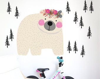 Large wall decal for kids with polar bear and a trees. Printed, Removable Self Adhesive vinyl. #110
