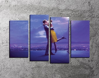 Movie Canvas Print, Emma Stone Art Print, La La Land Art Print, Ryan Gosling Poster, Large Canvas, 5 Panel Canvas Art, Large Print