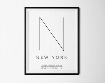 New York City, New York, NYC print, Poster NYC, New York Coordinates, NYC print, nyc art, City Prints, New York print, New York poster