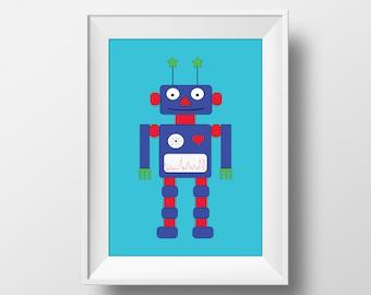 Robot bedroom print, Robot nurery wall art, Robot print, Robot room decor, Kids room prints, Baby boy gift, Robot art, Robot poster, Robots