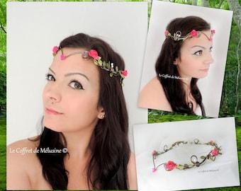 Flower wedding tiara Crown brown chocolate, Fuchsia and green leaves flowers