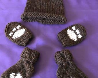 Brown Bear newborn hat set