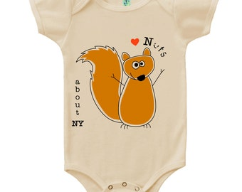 Organic cotton short sleeve baby onesie with screen printed New York squirrel design by Bugged Out, made in the USA